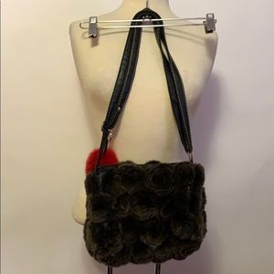 None Bags - Brown Fur Floral Purse with Red Fob